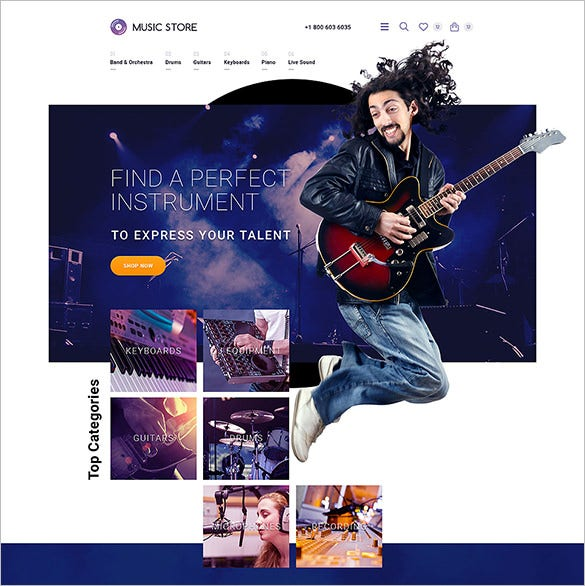 musical instruments opencart template1