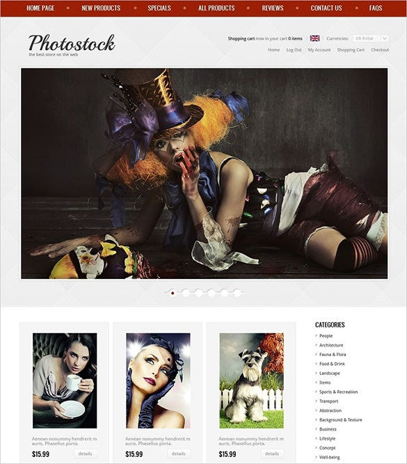 photography photostock zencart theme