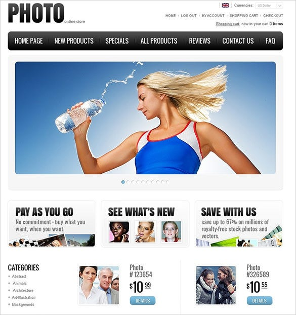 photography online store zencart theme