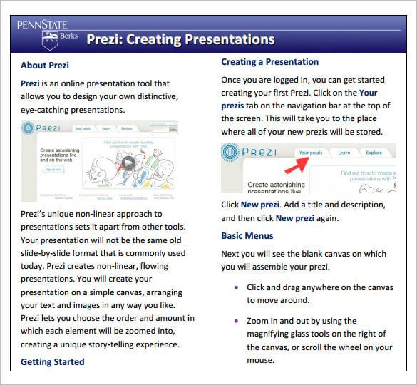 prezi creating presentations template pdf format