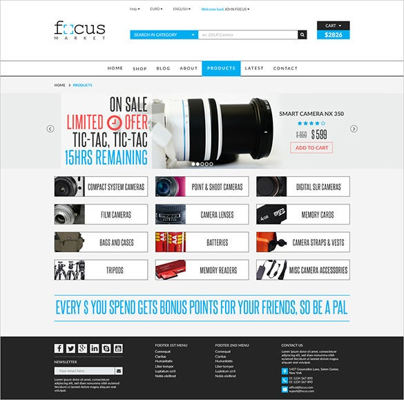 focus photography psd theme