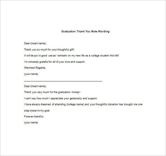 Graduation Thank You Note   Free Word Excel Pdf Format Download