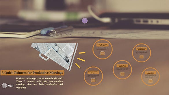 5 quick pointers for productive meetings prezi template