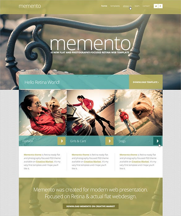 photography website psd theme