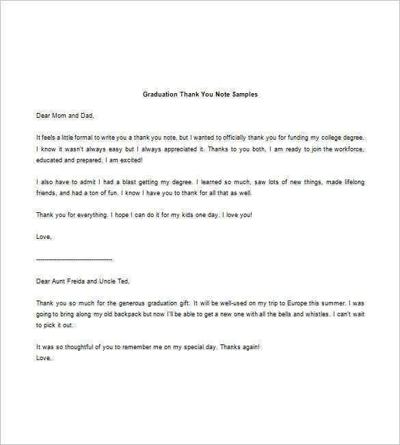 Graduation Thank You Note 8 Free Word Excel PDF Format – Thank You Letter Samples