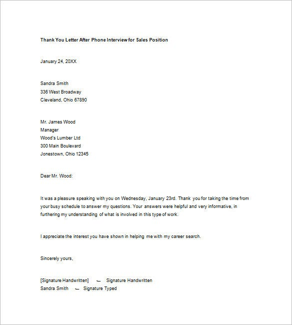 thank you letter after phone interview for sales position