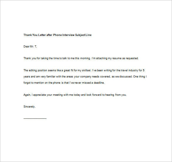 Thank You Note After Phone Interview  Free Sample Example