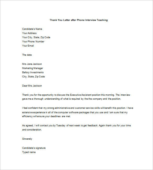 word thank you letter after phone interview teaching
