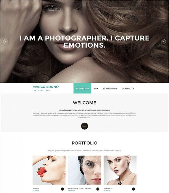 clean photography moto cms 3 bootstrap template