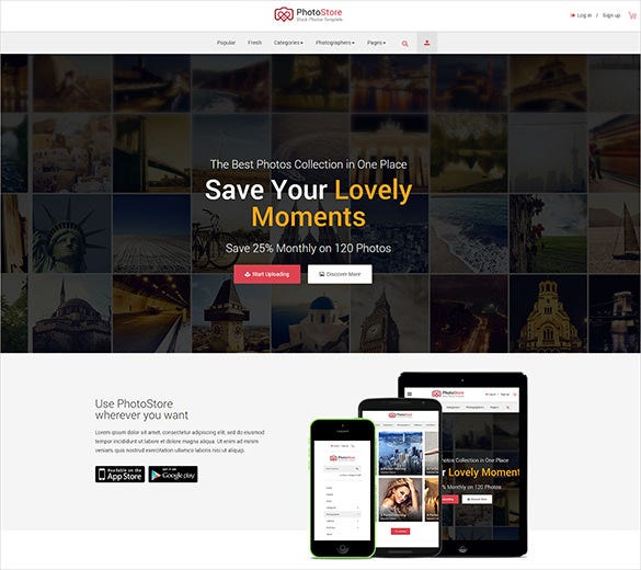 photography store ecommerce html5 bootstraptemplate
