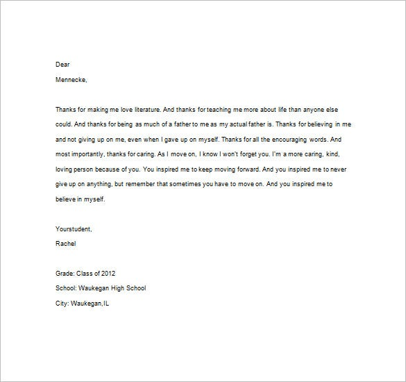 Thank You Notes For Teacher – 8+ Free Word, Excel, Pdf Format