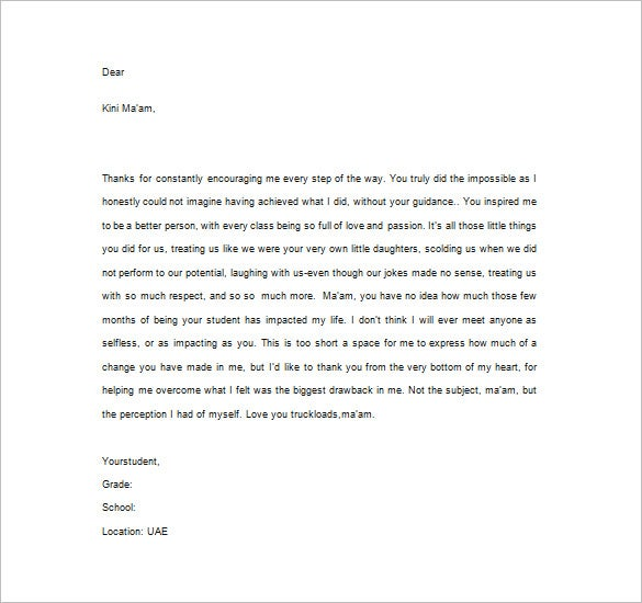 Sample Thank You Letter For Teacher Appreciation  Template