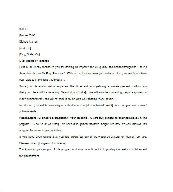 Thank You Notes For Teacher   Free Word Excel Pdf Format
