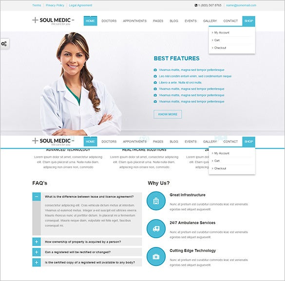flat responsive medical health blog theme