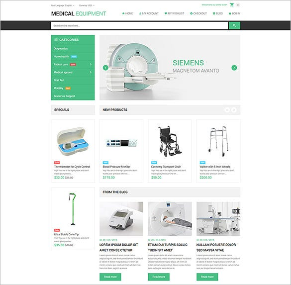 medical stuff store magento blog theme