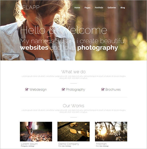 personal photography wordpress php template