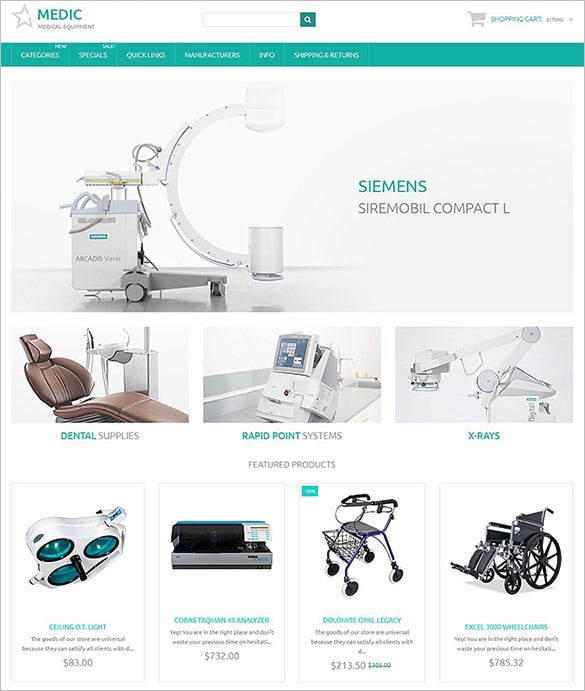 premium medical zencart template