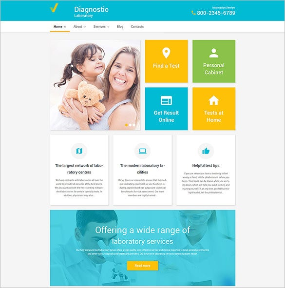 diagnostic laboratory wordpress php theme