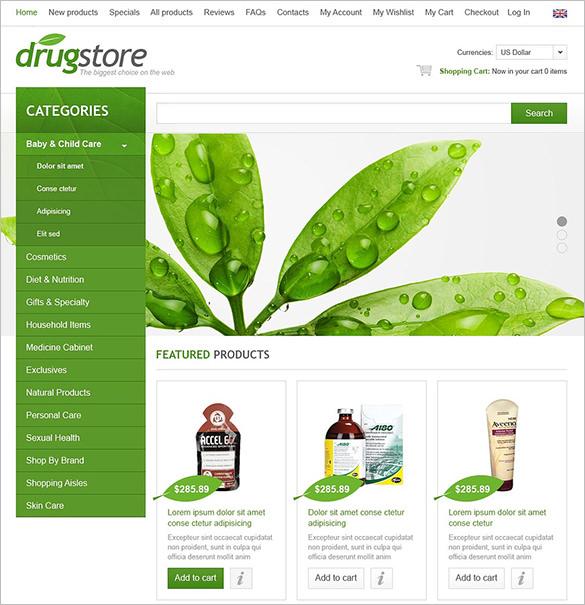 medical drugstore zencart template