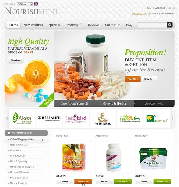 medical nutrition store zencart template