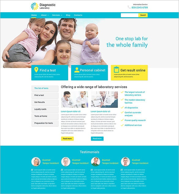 medical diagnostic laboratory psd theme