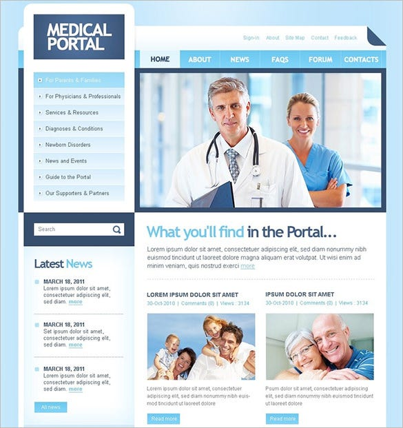 medical portal psd template
