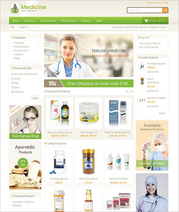 medicine responsive magento theme download