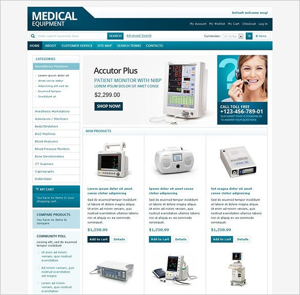 medical equipment magento theme download