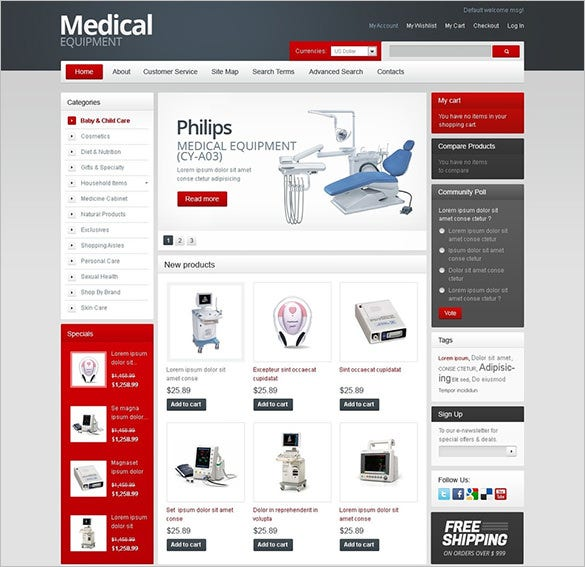 equipment for hospitals medical magento theme