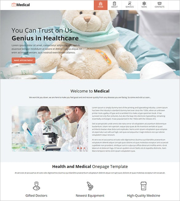 one page medical center psd template
