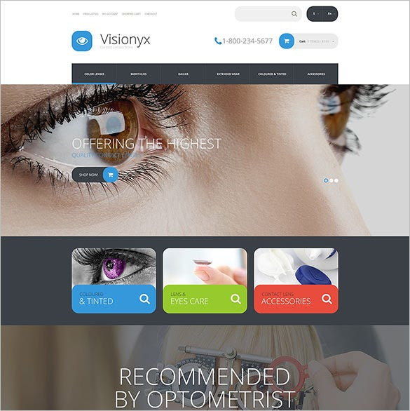 visionyx optometrist medical opencart template