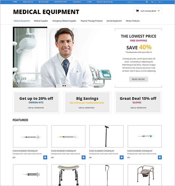 medical equipment responsive opencart template1