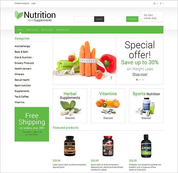 nutrition store responsive opencart template