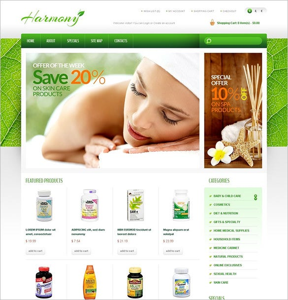 products for health medical opencart template