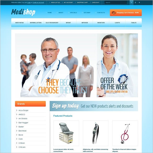 medical supplies opencart template download