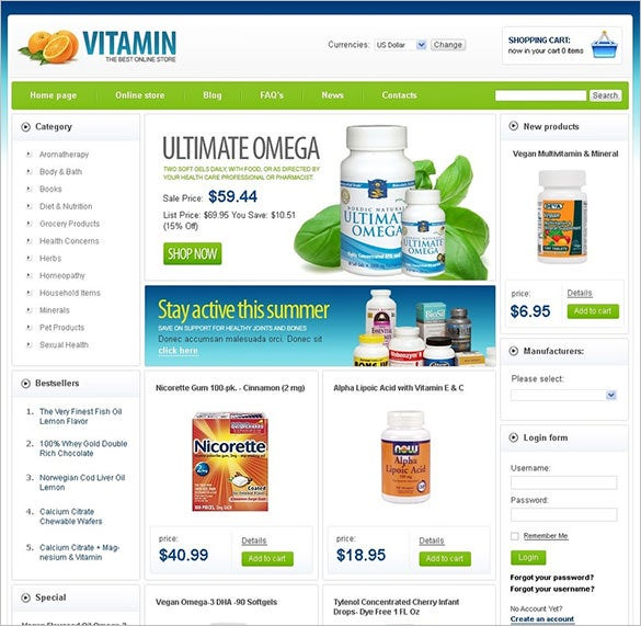 nutrition store medical virtuemart template