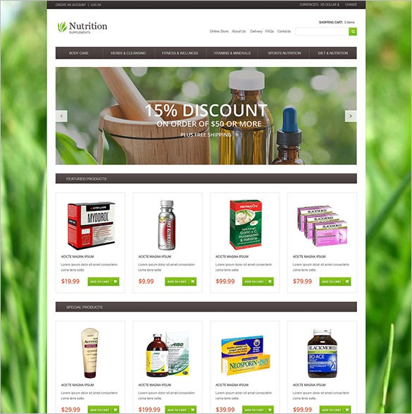 nutrition supplements medical virtuemart template