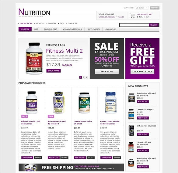 nutrition store virtuemart template download