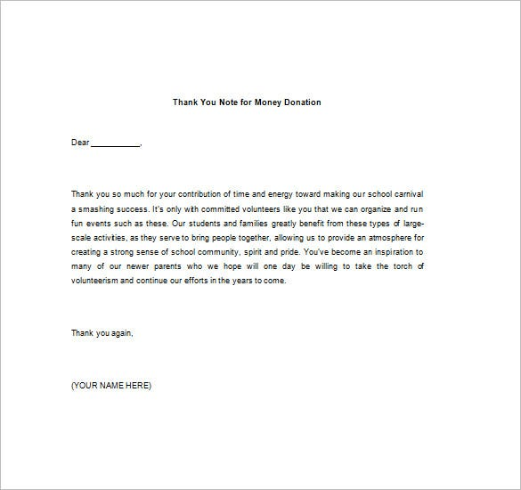 Thank You Letter For Donation Of Money  Template