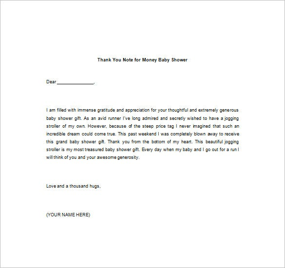Thank You Note For Money  Free Sample Example Format Download