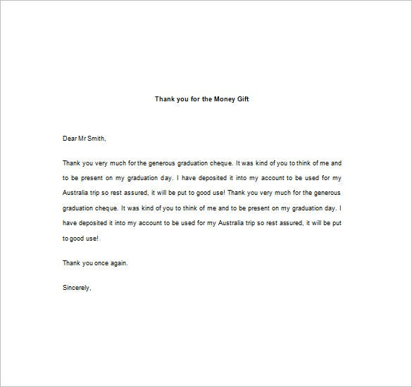 Thank You Note For Money  Free Sample Example Format