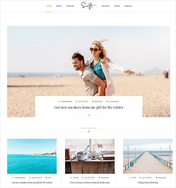 minimal writer blog psd template