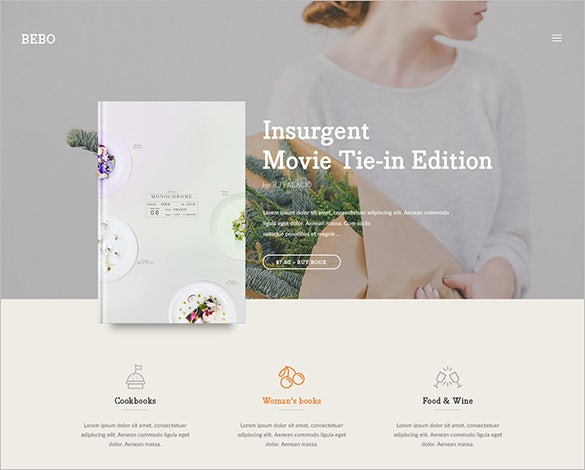 writer books landingpage psd template
