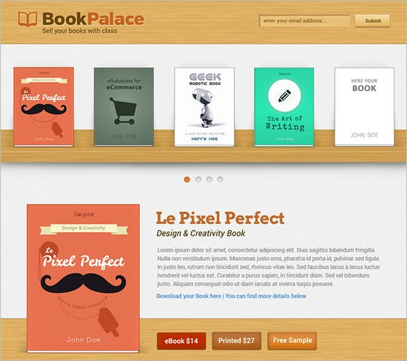 writer bookplace website psd theme