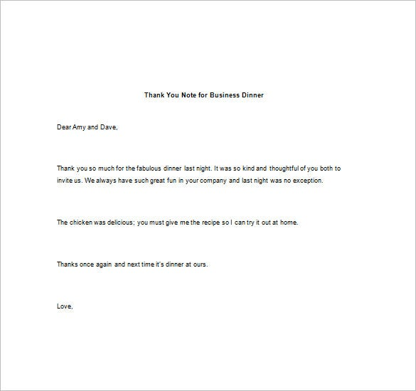 Thank You Note For Dinner   Free Word Excel  Format