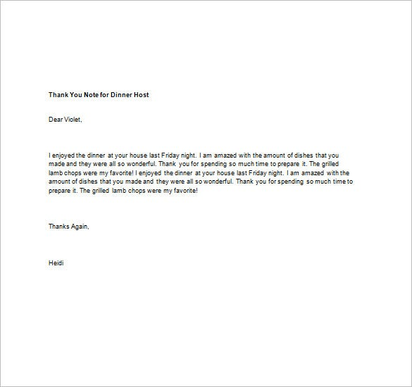 Attractive Thank You Note For Dinner – 8+ Free Word, Excel, PDF Format  ZQ78