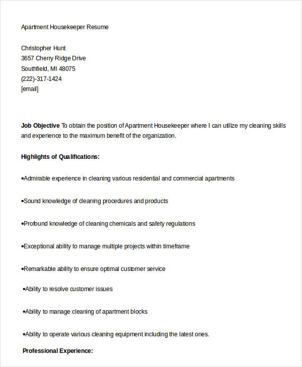 apartment housekeeper resume template in word - Housekeeping Resume Samples