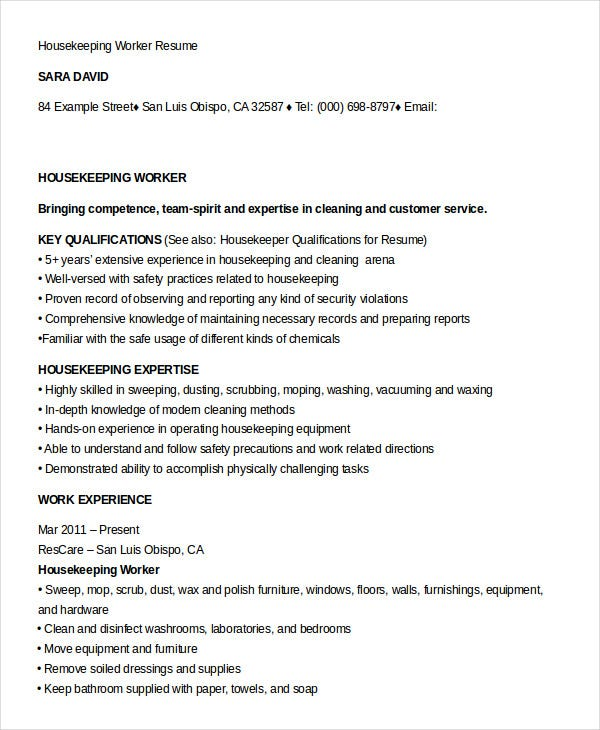housekeeping worker resume template - Housekeeping Resume Samples