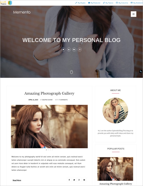 Memento Creative Blogger Template