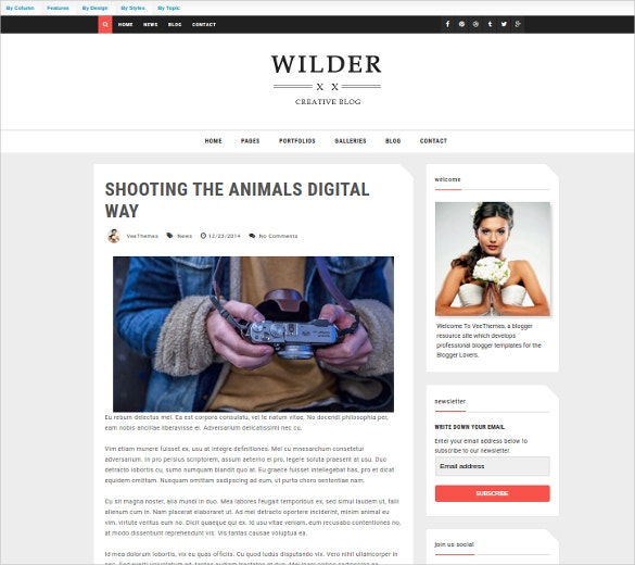 Wilder Creative Blogger Website Template